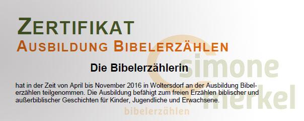 Abschluss Ausbildung Bibelerzählen 2016, Simone Merkel