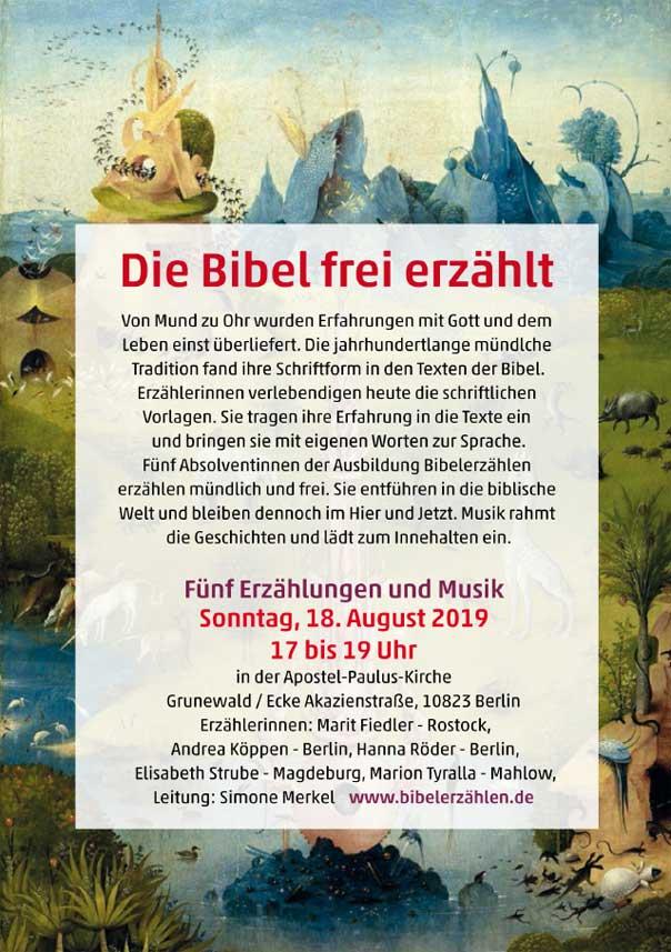 Bibelerzählabend, Berlin, Biblische Geschichten, Ausbildung, BEA, Leitung Simone Merkel